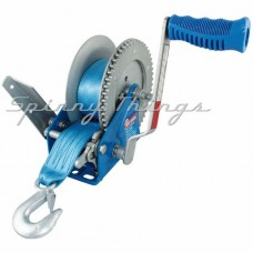 Boat Winch Braked 5:1, 1:1. 900kg capacity. Strap & Snap-on hook